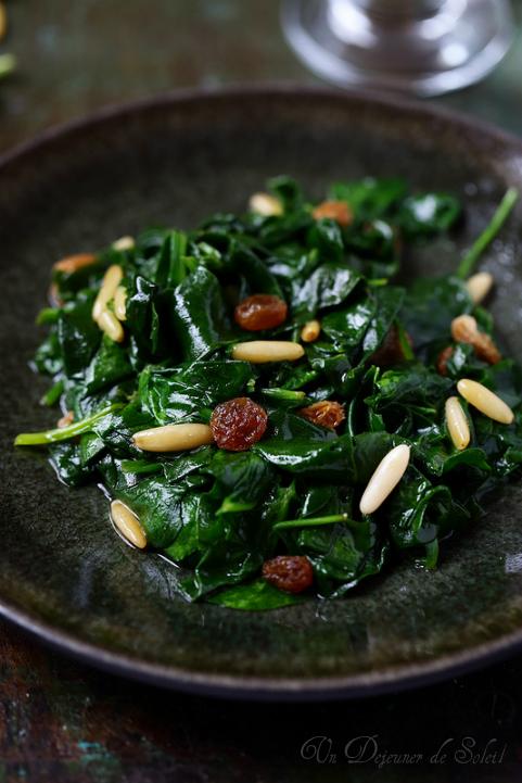 epinards genovese raisins pignons anchois entree