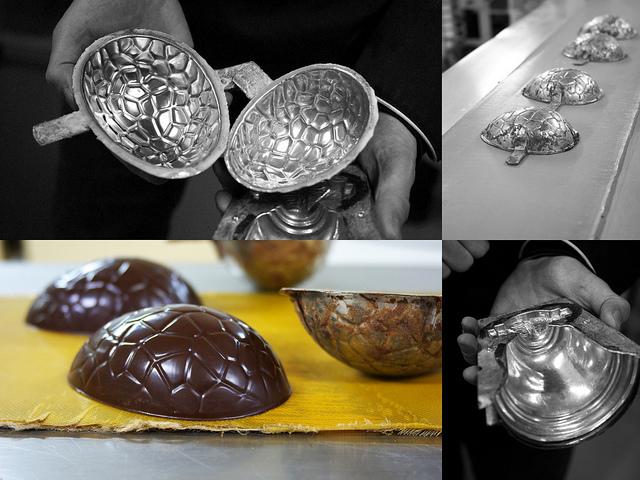Oeufs chocolat cloches Paques moules anciens Chapon Chelles