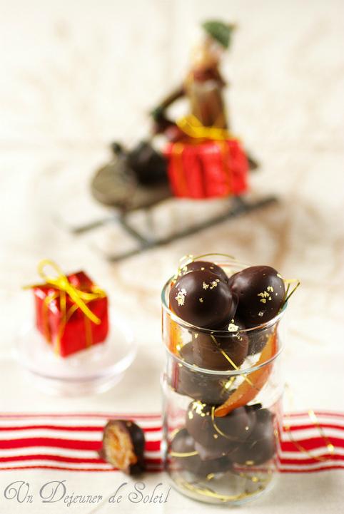 Truffes marrons glacés orange confite et chocolat