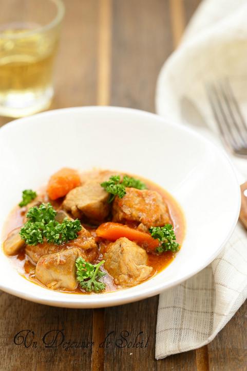 Veau marengo (mijoté aux champignons et tomate)