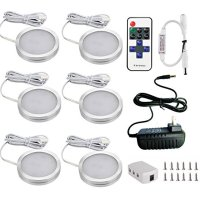 Xking 6 Puck Lights LED Wireless Kitchen Under Cabinet Lighting Dimmable with RF Remote Controller, DC12V Total 12W (Warm White)