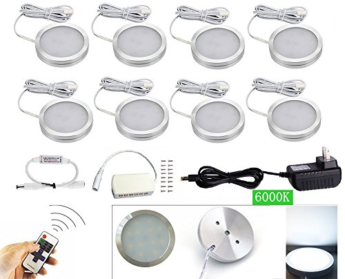 xking 8 pcs dimmable led lights led under cabinet lighting and rf controller led closet - Led Cabinet Lighting