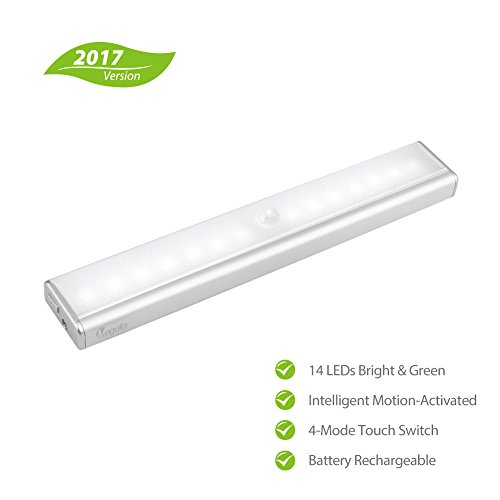 [Upgraded]Megulla 14 LED Rechargeable Lithium Battery Operated Indoor  Wireless Motion Sensor