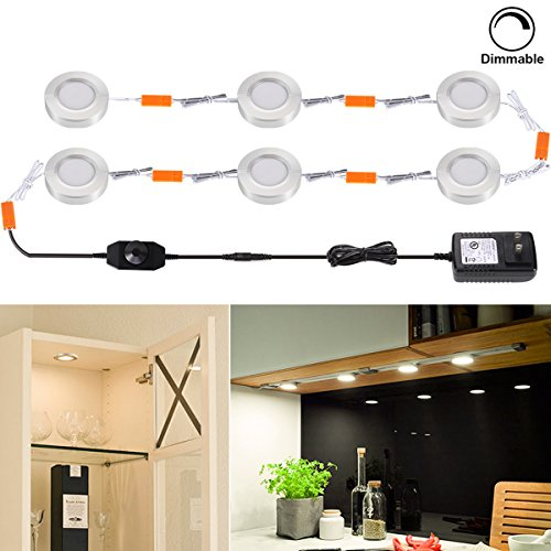 Su0026G Set Of 6 Dimmable LED Under Cabinet Light Fixture 3W 3000K Warm White LED  Puck