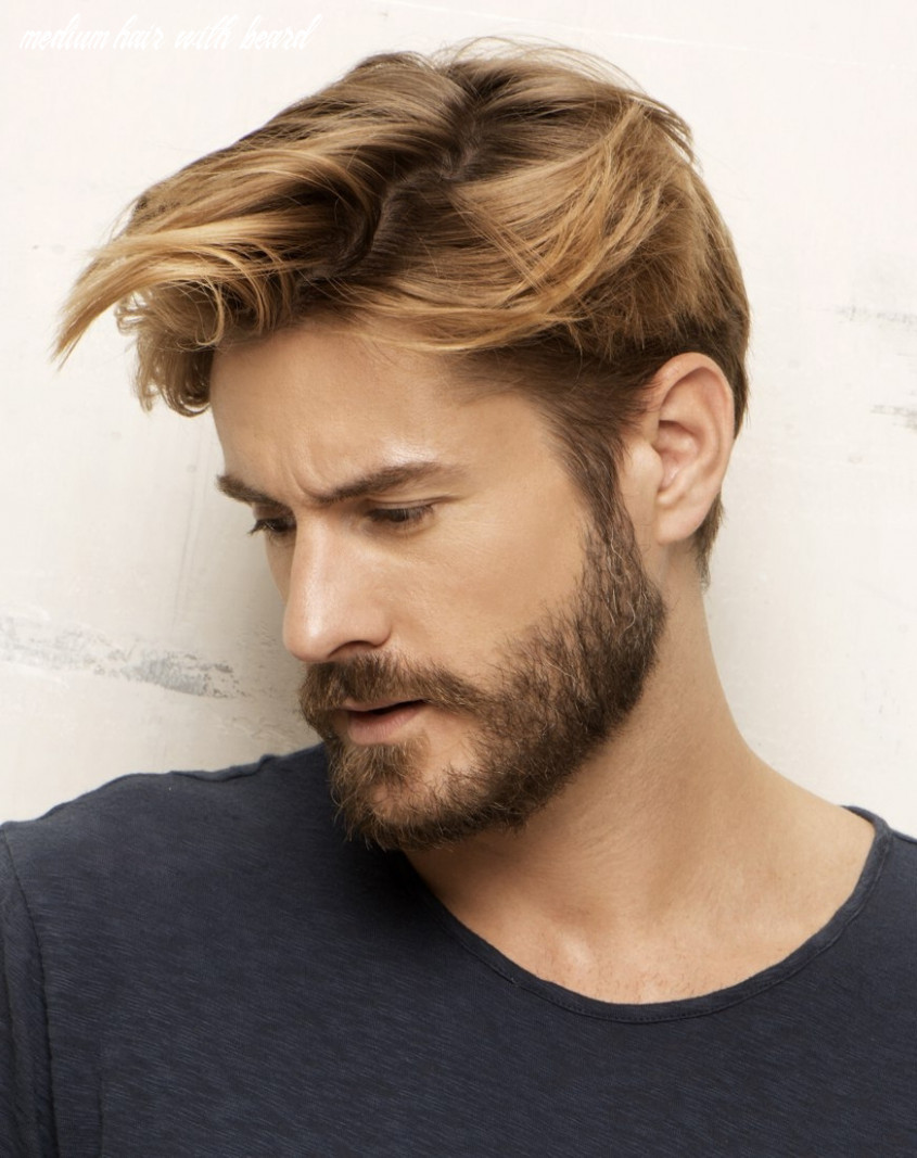 Medium hair with beard styles handsome look for men with great h