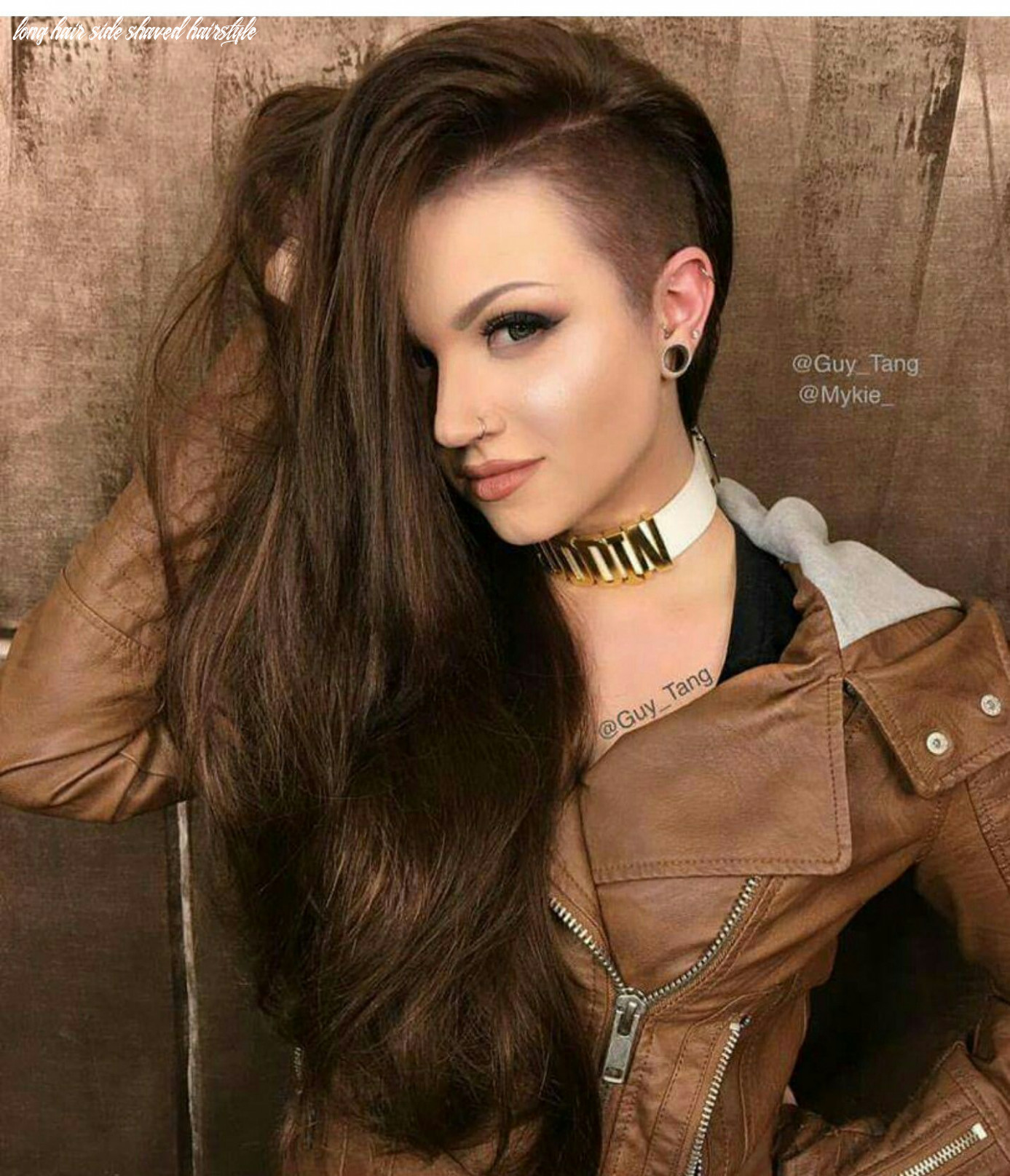 Mykie glam and gore guy tang brown side shave hair hairstyle (with