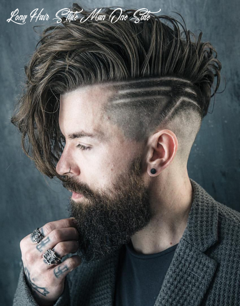 9 haircuts for men with thick hair (high volume) long hair style man one side