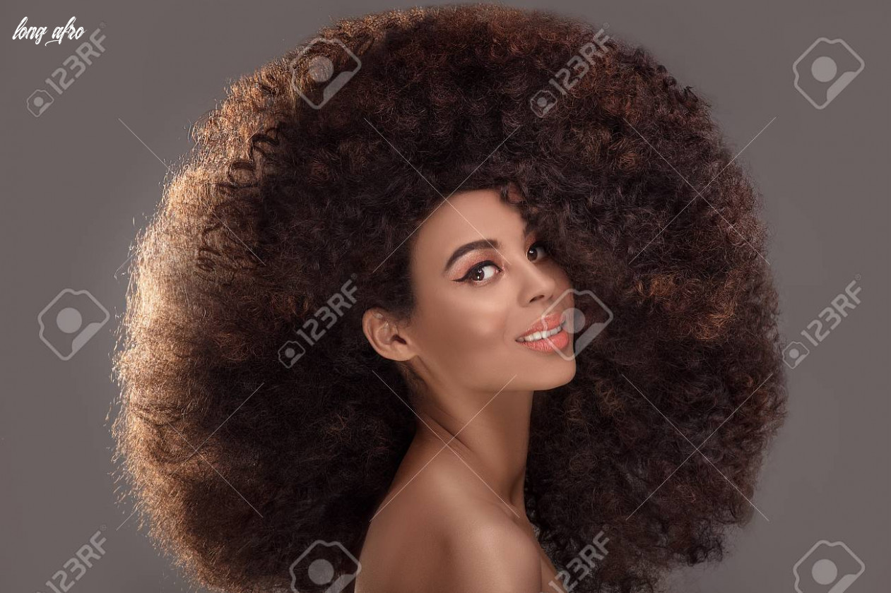 Beauty portrait of attractive african american woman with long