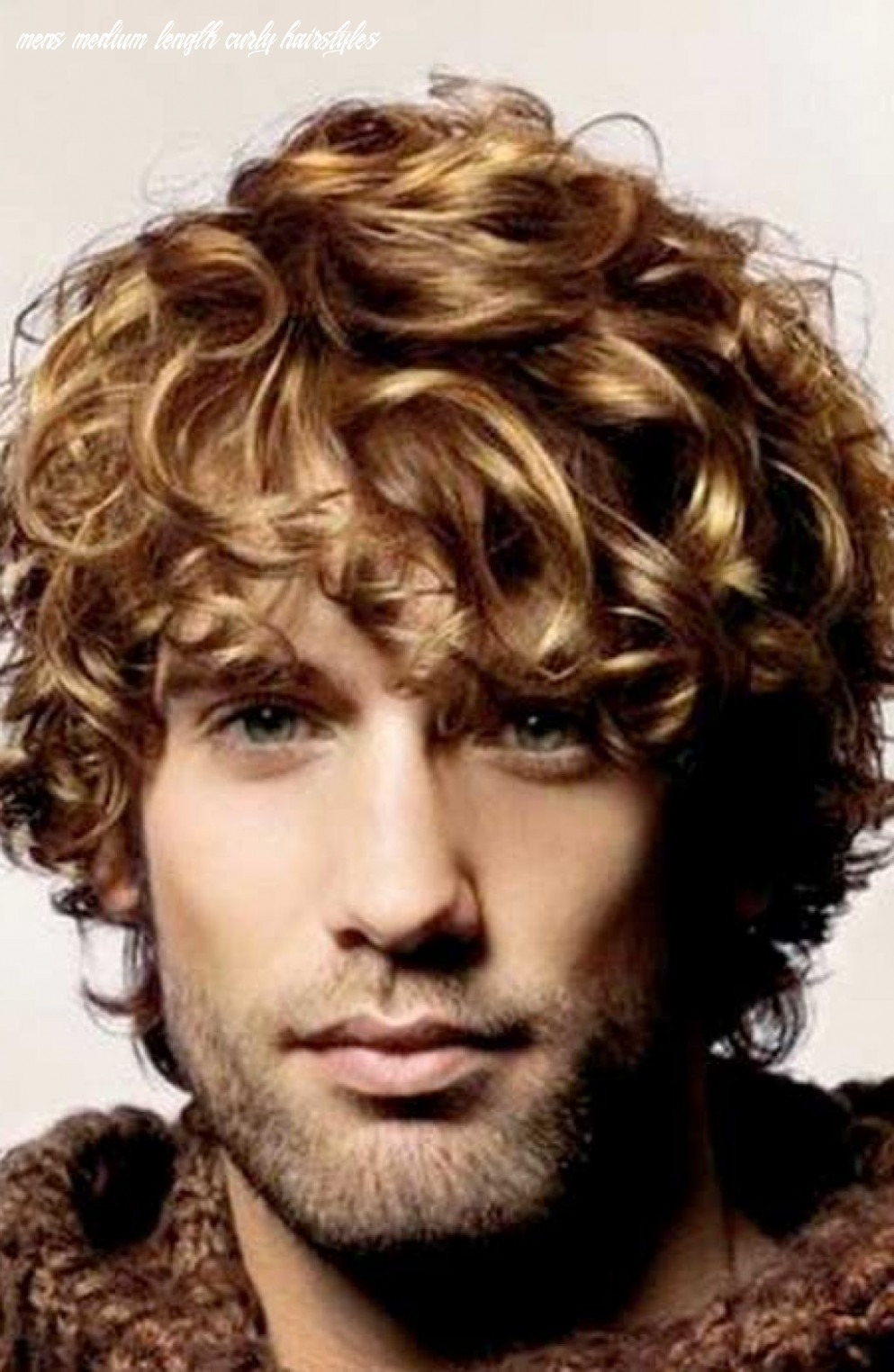 Medium curly blonde hairstyle for men | long curly hair men, curly