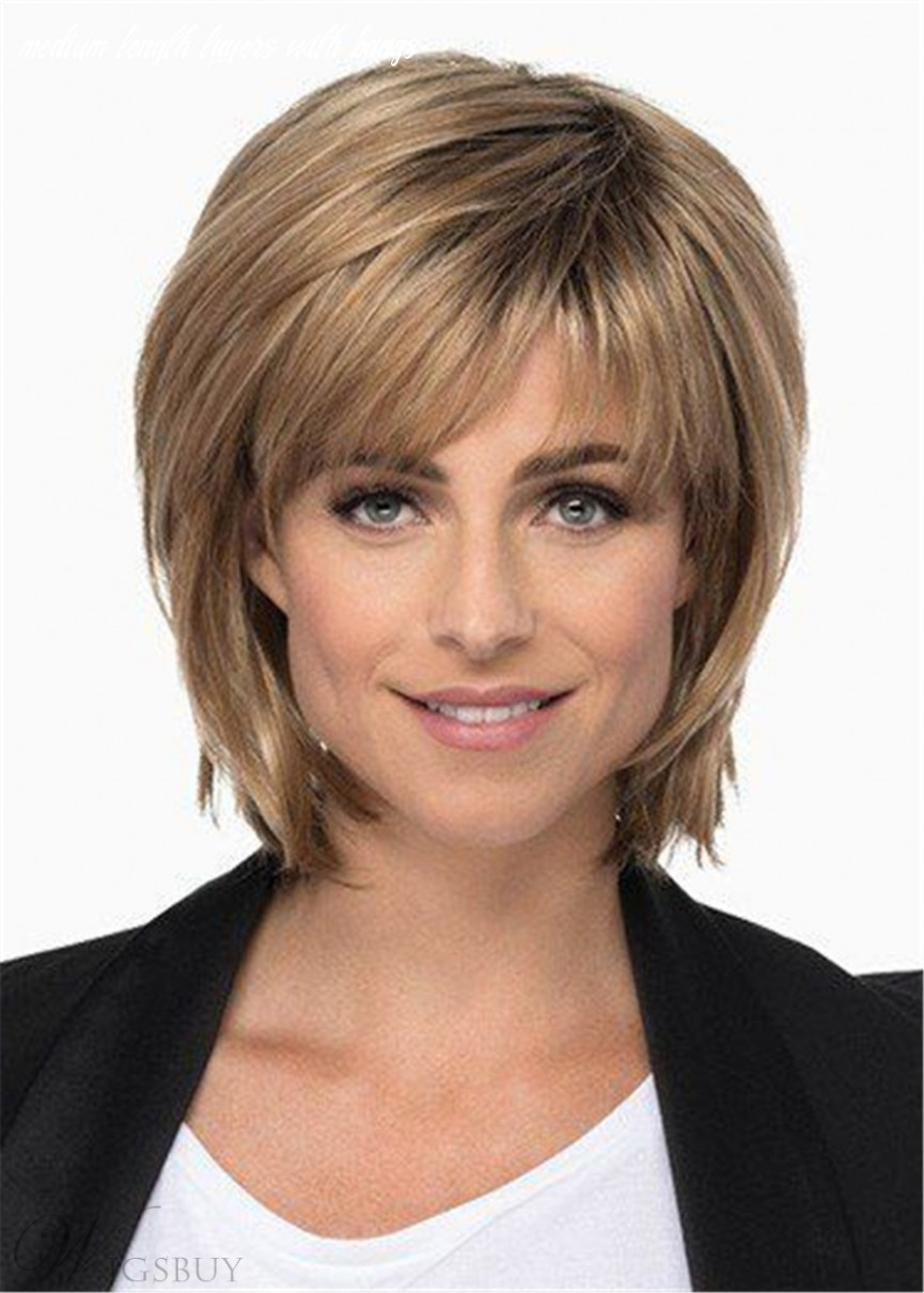 Medium length layered bob with bangs synthetic hair lace front wig