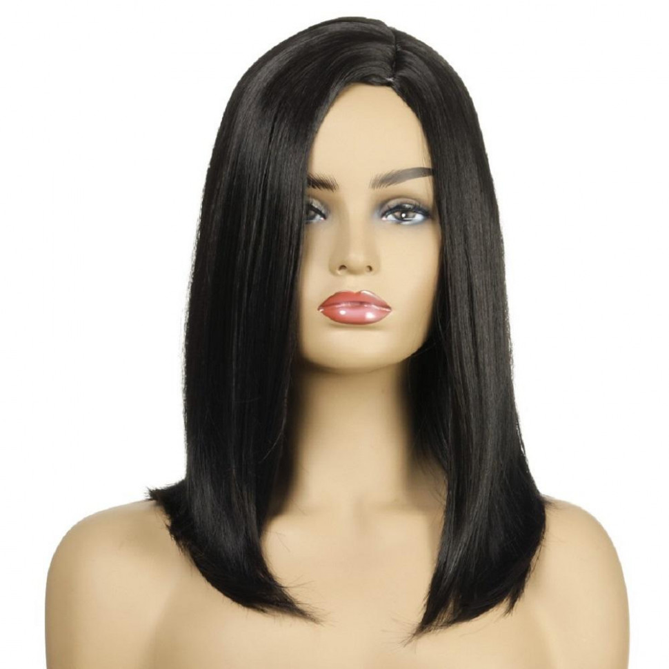 Shoulder length straight left side parting black hair synthetic