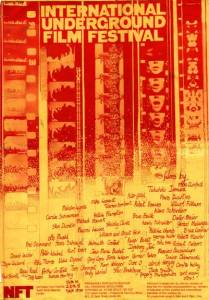 Red and yellow film festival poster with filmstrips