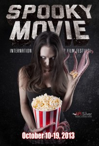 Woman with tentacled hands fondles a tub of popcorn