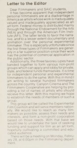 Letter from a student publication, 1983