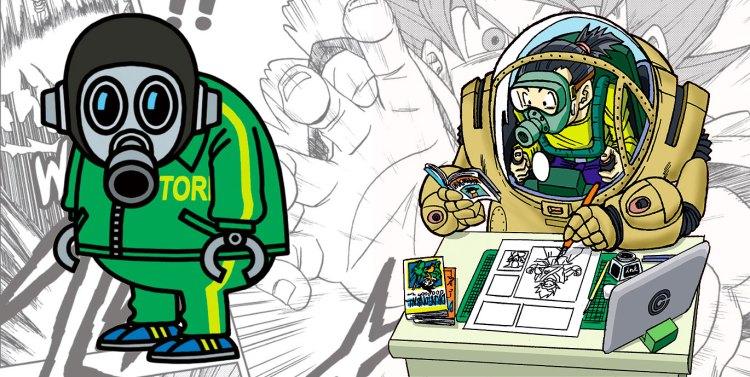 Autoportraits respectifs de Toriyama (le scénariste de Dragon Ball Super) et de Toyotaro (le dessinateur)