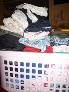 Folded laundry in a basket is a enabler