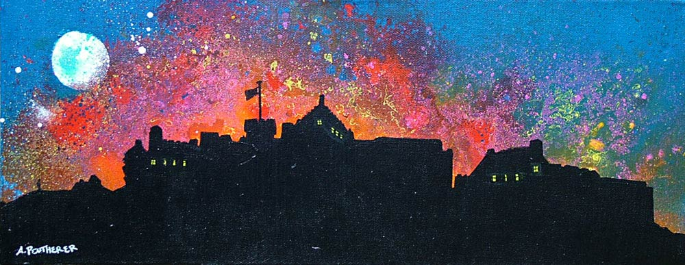 Paintings   Prints of Edinburgh  Stirling  the lothians and Borders     Contemporary Scottish Landscape painting of Edinburgh Castle Red Sunset   Scotland