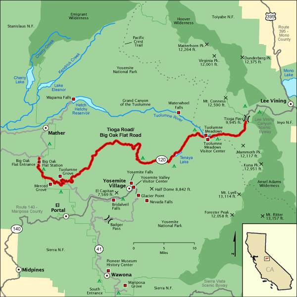 Map showing how to get to Tioga Pass in Yosemite National Park (at the eastern end of the red line).  Map from Undiscovered-Yosemite.com.