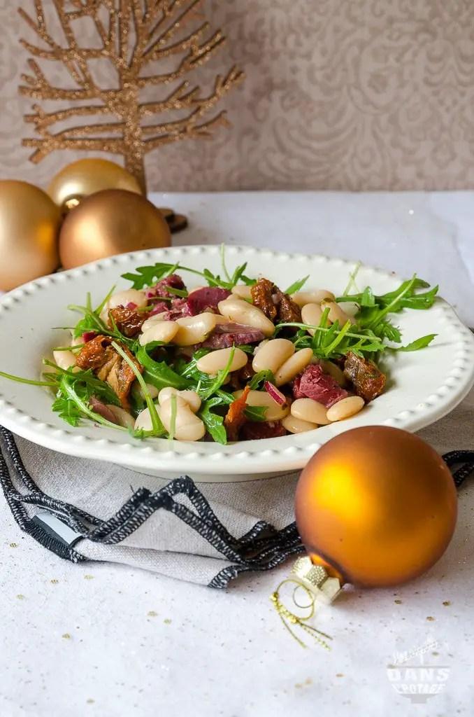 salade tiède de haricots blancs et gésiers de canard