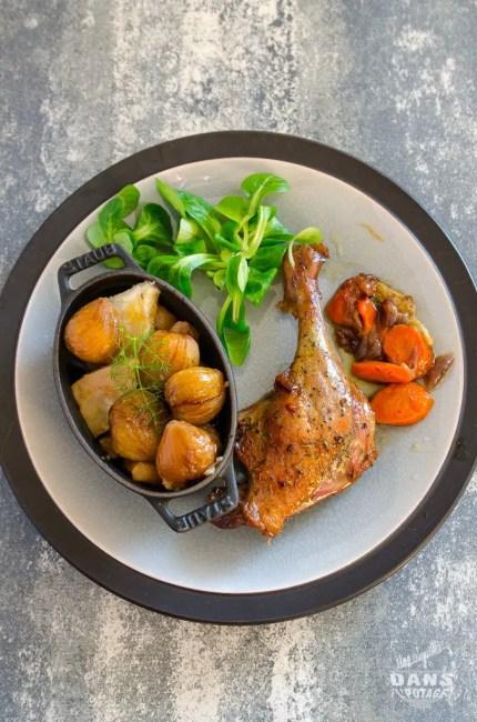 cuisse de canard braisée et marrons