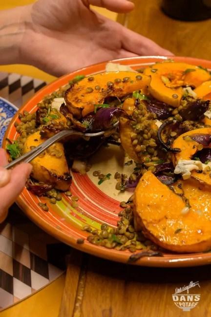 butternut rôtie lentilles et gorgonzolla d'Ottolenghi