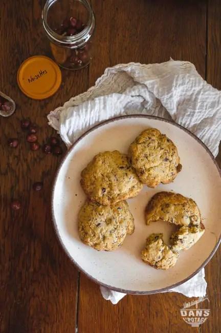 cookies noisette et chocolat aux jaunes d'oeufs