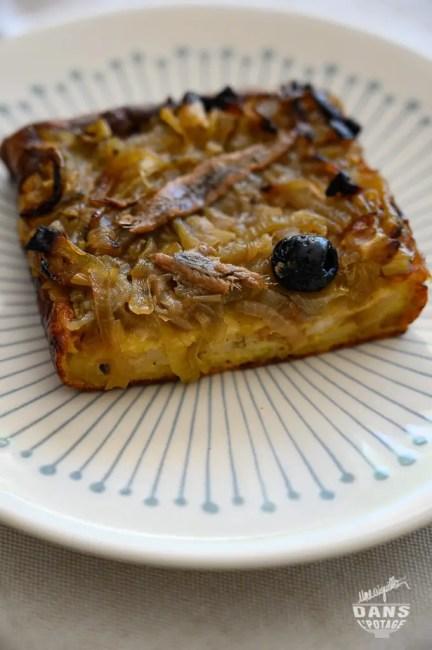 pudding de pain rassis version pissaladière