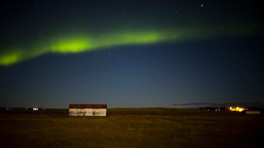 The northern lights as taken from my partner's camera on our last day in Iceland, near Hella | © Jeff Cerulli