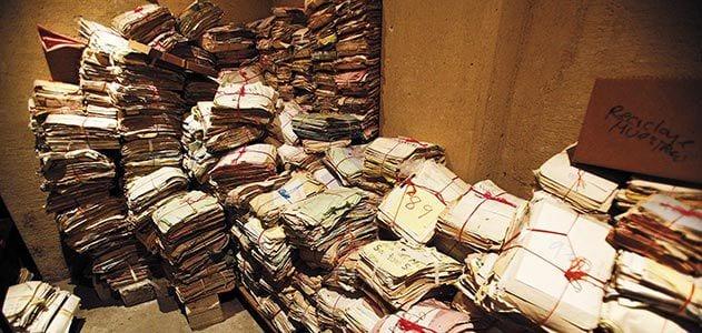 Archival documents in Guatemalan police station   © Courtesy of Smithsonian Magazine