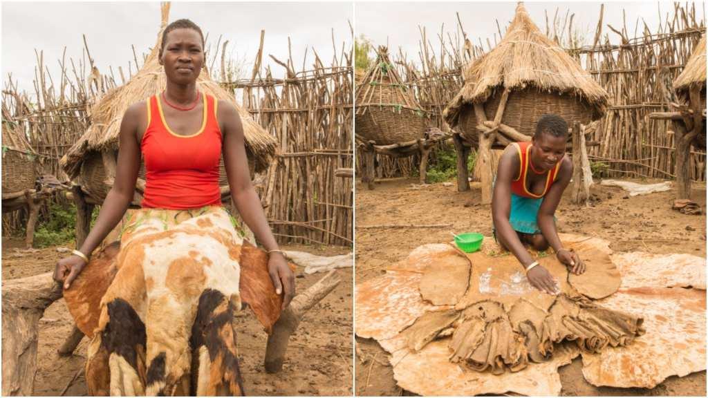 Lepera Joyce uses a goatskin skirt for her period | © WaterAid/James Kiyimba