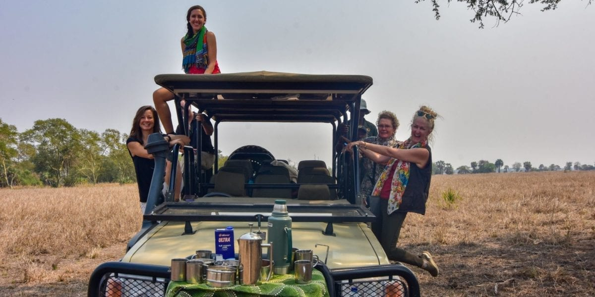 The Journeys with Purpose crew enjoying a game drive in Gorongosa National Park | © Emily Scott/ Blue Sky Society