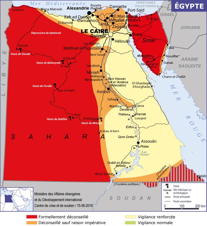 Carte Sécurité Egypte