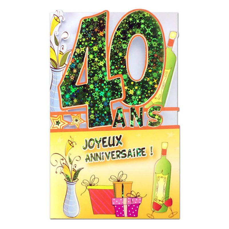 Des milliers de cartes animées gratuites. Carte Anniversaire 40 ans Vert découp'âge - Une carte pour toi