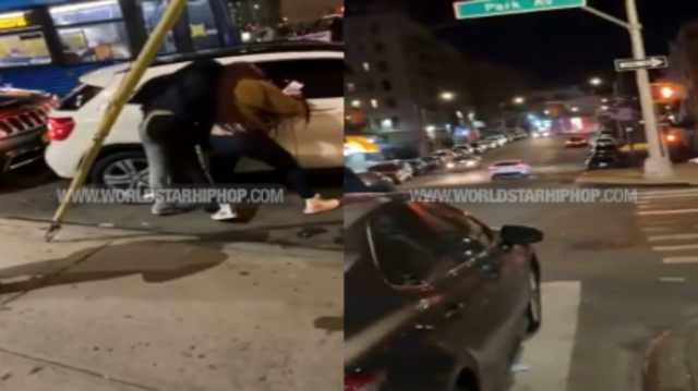 Watch: Well Damn: Girl Gets Dragged Up The Block By Her Hair After Getting Into A Fight With 2 Chicks & Attacking Them While They Tried To Get Away!