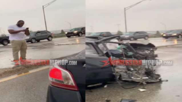 WATCH: Dude Breaks Down & Starts Crying After Walking Out Of Crazy Car Crash Unharmed!