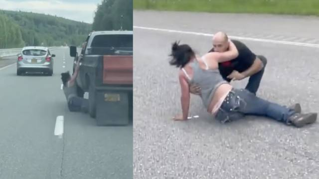WATCH: Toxic Relationship: Chick Gets Ran Over While Holding Onto Her Man's Truck Door On Highway!