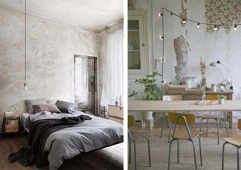 15 inspirations pour un mur brut dans la d co une hirondelle dans les tiroirs. Black Bedroom Furniture Sets. Home Design Ideas