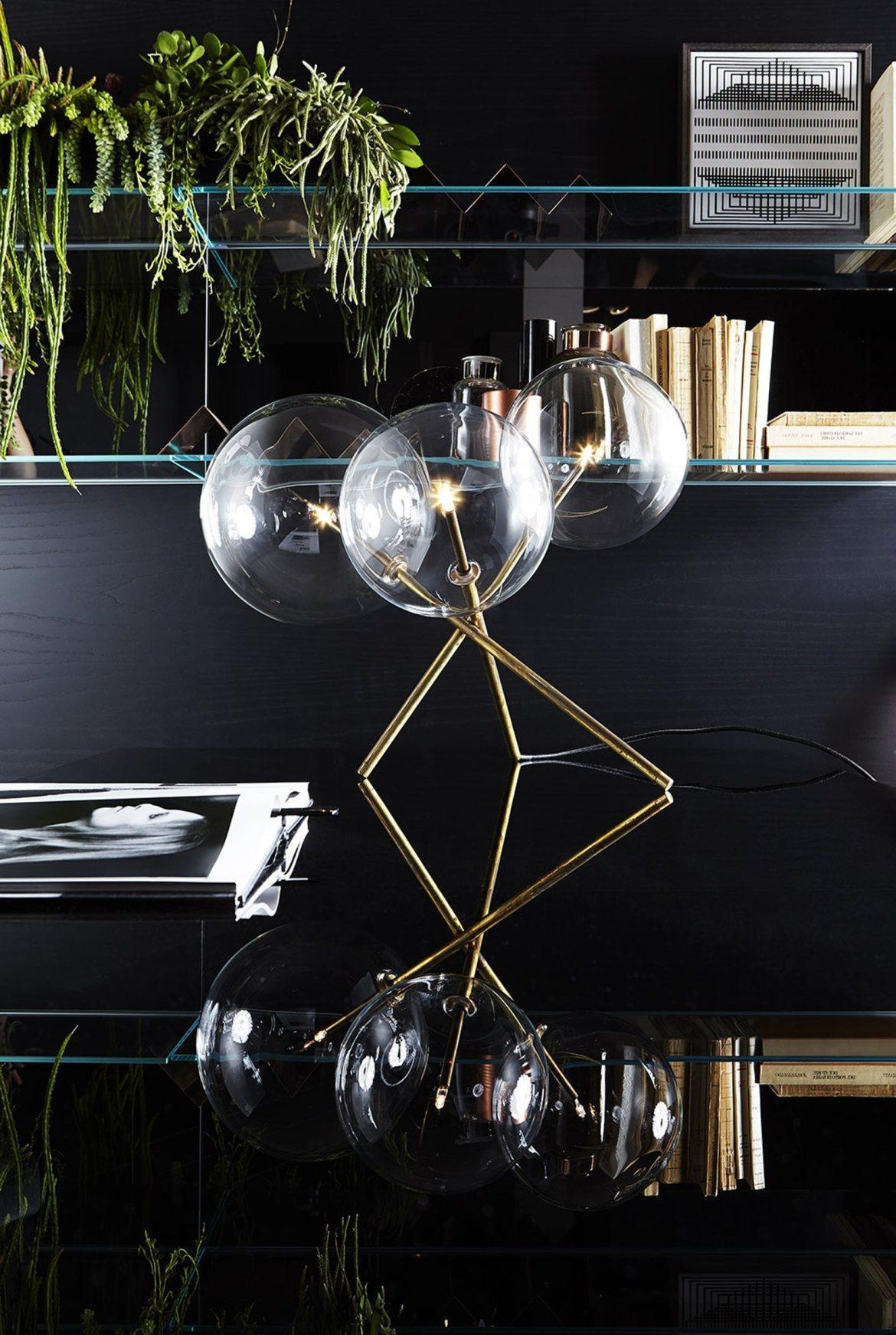 luminaire design verre et laiton 5