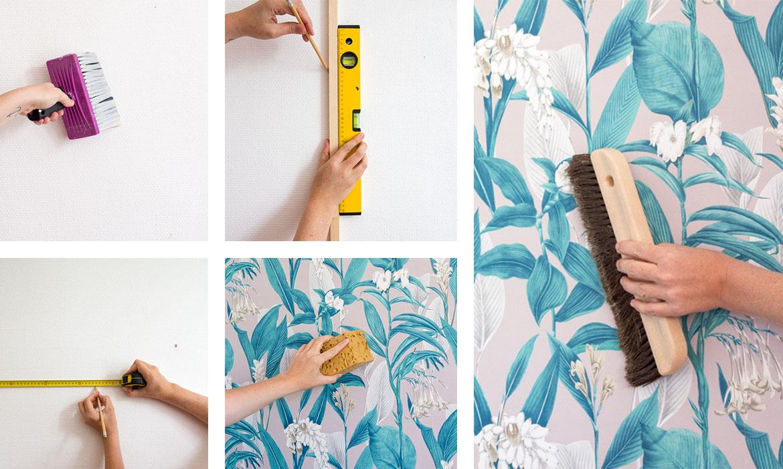 Poser papier peint simple pose papier peint geomtrique sur le mur with poser papier peint Pose papier peint