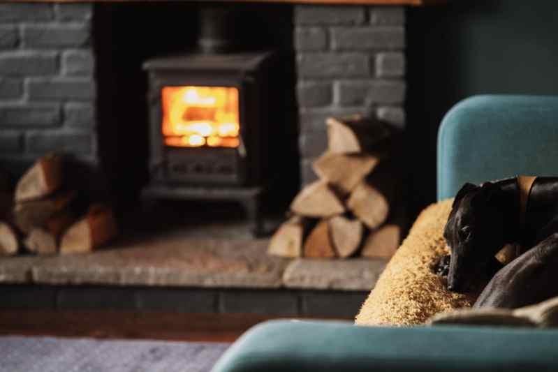 Feu de cheminée dans un poêle à bois