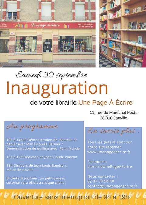 Inauguration de la librairie une page à écrire