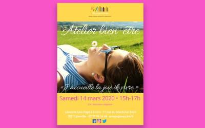 Atelier « J'accueille la joie de vivre » samedi 14 mars 2020 de 15h à 17h