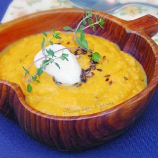 Potage épicé de lentilles rouges et carottes