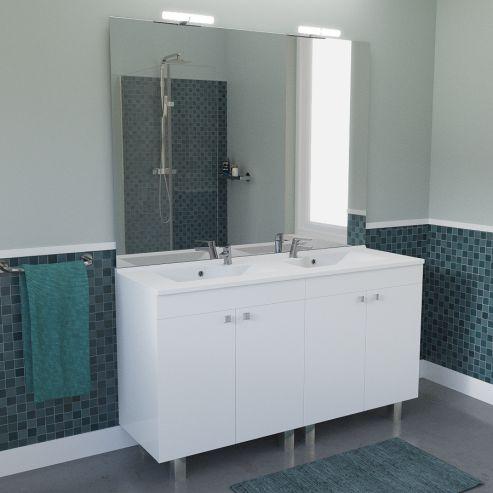 Meuble De Salle De Bain Avec Double Vasque Et Miroir