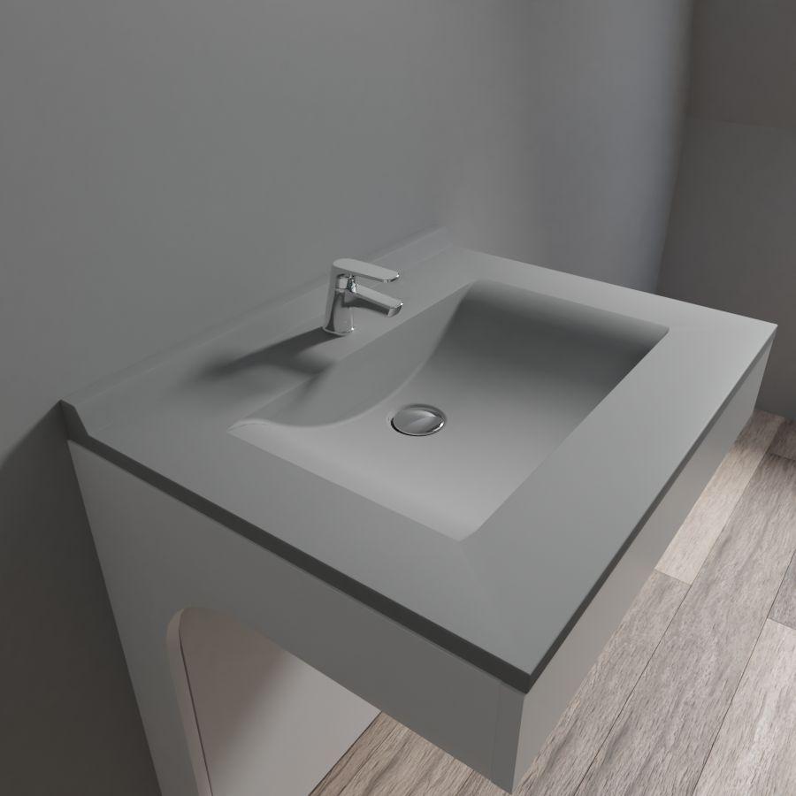 plan vasque simple en resine de salle