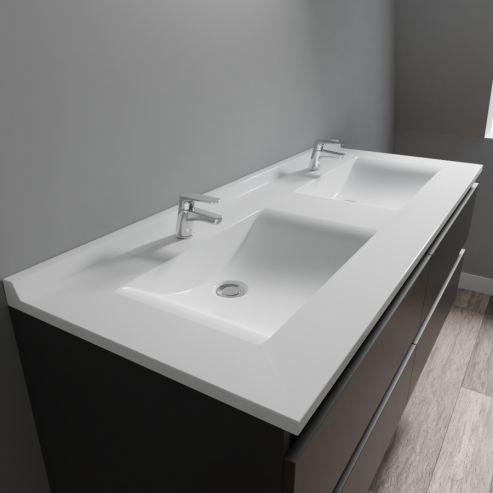 plan double vasque en resine resiplan 140 cm