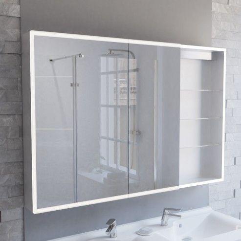 armoire miroir led armiled avec portes a gauche 120 cm