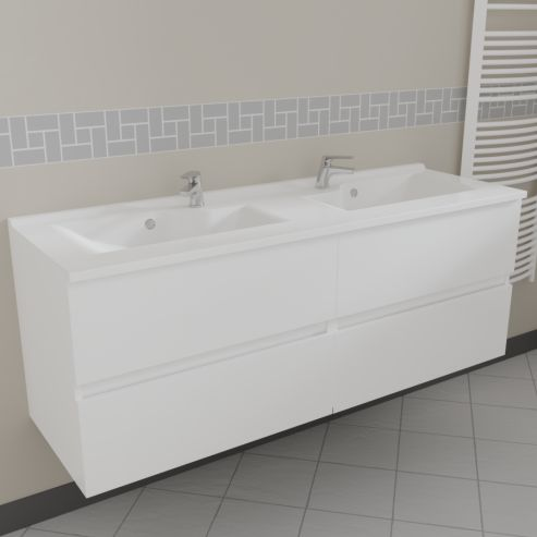 caisson double vasque rosaly 140 blanc brillant