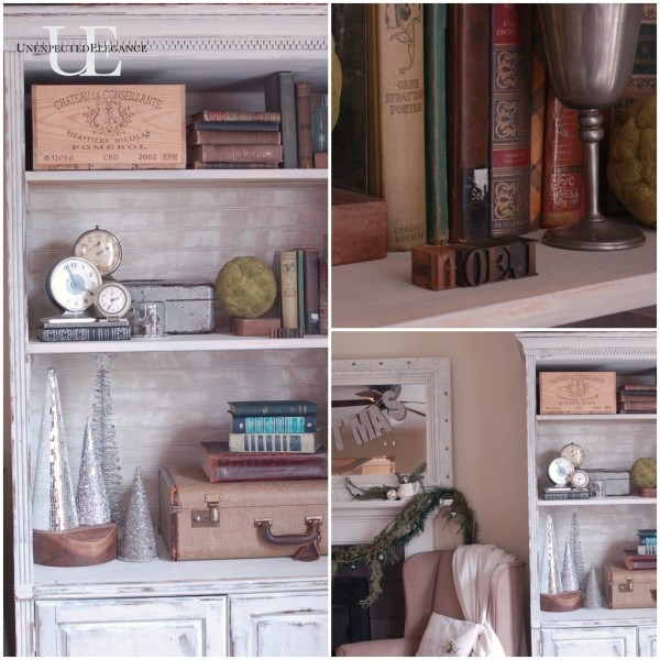 Bookcase Details for Christmas at Unexpected Elegance