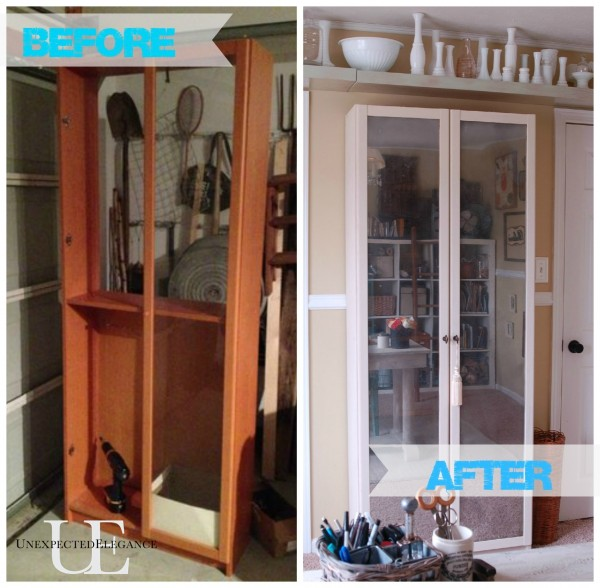 Before and After of Mirrored Cabinet